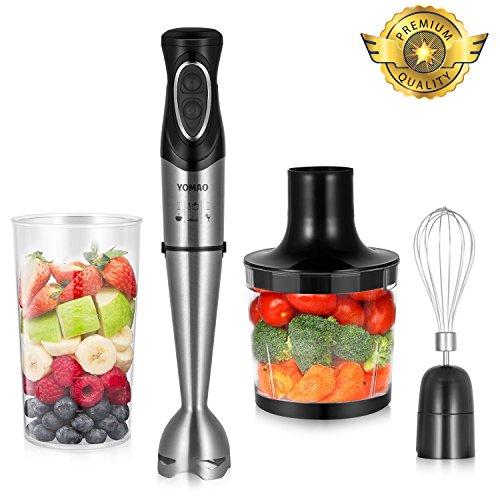 Yomao Stabmixer 4-in-1 Multifunktioneller Mixer, Edelstahl 2 Geschwindigkeit Pürierstab mit 500ml Schüssel, Schneebesen Inkludiert und 600ml Becherglas für Smoothie, Suppen, Babynahrung, Gemüse oder Fleisch