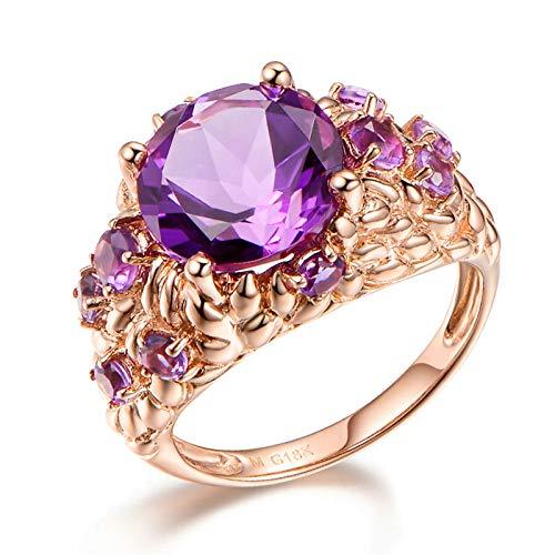 67f3a1e31bd4 Blisfille Anillos Compromiso Diamante Joyería Anillo 18 Kilates de Amatista  Anillo de Oro Rosa