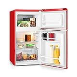 Klarstein Monroe • Kühl- und Gefrierkombination • Retro Mini-Kühlschrank • 61 Liter Volumen • 24 Liter Gefrierfach • 2 Glas-Ablagen • Gemüsefach • 2 Türablagen • 40 dB leise • rot