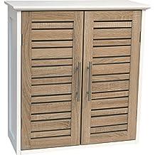 TENDANCE Mueble de ba&ntilde nbsp;Stockholm con doble puerta de madera MDF, color blanco o roble y tamaño de 52x 22x 53,5cm