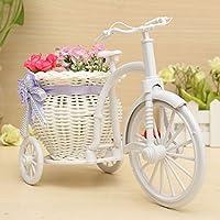 Bluelover Grande Rattan triciclo bici cestino del fiore Vaso partito bagagli decorazione -purple + bianco
