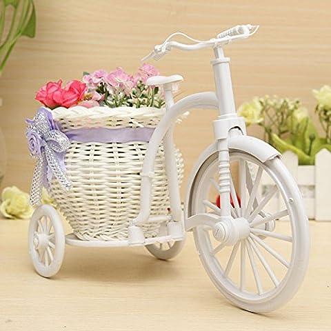Bluelover Gros Rotin Tricycle Vélo Panier Fleur Vase Stockage Parti Decor-Violet + Blanc