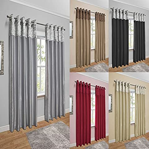 Crushed Velvet Band Faux Silk Eyelet Curtains (Silver, 46
