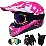QYTK Casque Moto Cross Enfant Rose, MT-61 Full Face Moto Off-Road Helmet Cross Helm...