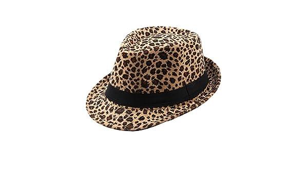 bf4006d22b9 Felt Trilby Hat Men Women Autumn Winter Leopard Fedora Jazz Hats Multicolor   Amazon.co.uk  Clothing