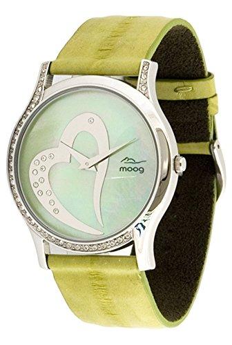 Foto de Moog Paris Sweet Love Reloj para Mujer con Esfera Nácar Verde, Correa Manzana Verde de Piel de Anguila y Cristales Swarovski - M44392F-004