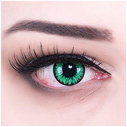 Farbige grüne hellgrüne Crazy Fun Kontaktlinsen Green Flower mit gratis Linsenbehälter + 60ml Pflegemittel Topqualität zu Karneval und Halloween