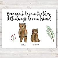 Personalised Bear Brothers Print Custom Quote Wall Art Gift