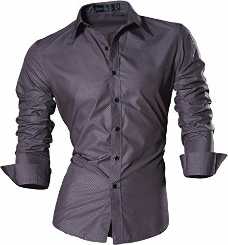 jeansian Uomo Camicie Un Colore Solido Senza Fiori Moda Abito Camicia Affari Slim Casual Shirts Z029 Gray