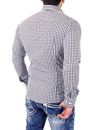 Reslad RS-7007 Chemise pour hommes à carreaux Vichy, manches longues et repassage facile Noir - Noir