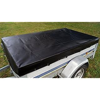 Abdeckplane für Anhänger, schwarz, 200x 120cm x 13cm hoch (wird mit Spanngurt, Ösen, Haken geliefert)