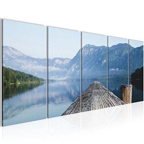 Bild 200 x 80 cm - Steg Bilder- Vlies Leinwand - Deko für Wohnzimmer -Wandbild - XXL 5 Teilig Teile - leichtes Aufhängen- 806055a