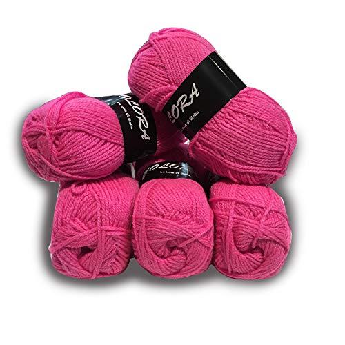 Panini tessuti 5 gomitoli lana colora -fucsia- per lavori ai ferri-34 colori disponibili- 50g/140metri