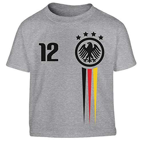 Deutsche Nationalmannschaft Fantrikot EM 2019 Kleinkind Kinder T-Shirt - Gr. 86-128 104 (3-4J) Grau (Kleinkinder Für Trikots)