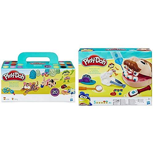 Play-Doh Pack 20 Botes, (Hasbro A7924EU8) + PDH Core Dentista Bromista, Multicolor, 1 (Hasbro B5520EU4)
