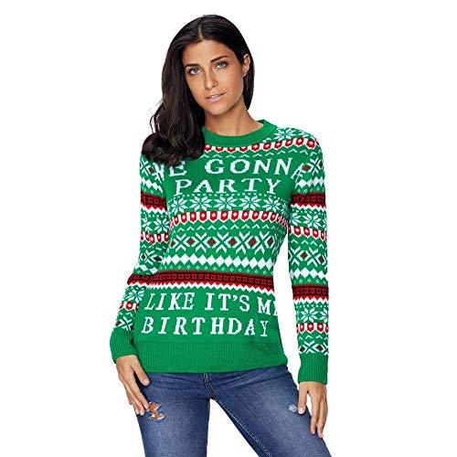 (KAIDILA Grüner We Gonna Partei hässliche Weihnachts Pullover Weihnachten Runde Hals Langarm Brief Print Motiv Pullover Wolle Sweatshi RT Casual Pullover)