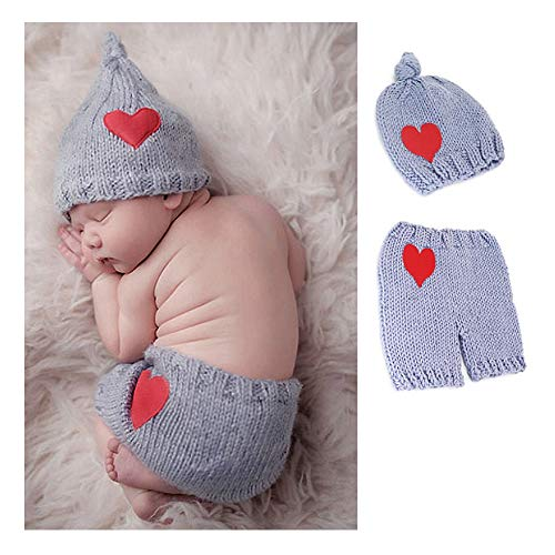 NROCF Herz-Form-Baby-Foto-Kleidung, Neugeborenes Baby-Jungen-Mädchen-Nette Häkelarbeit-Strickkostüm-Stützen-Ausstattungs-Foto-Fotografie