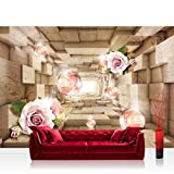 Vlies Fototapete 416x254cm PREMIUM PLUS Wand Foto Tapete Wand Bild Vliestapete - 3D Tapete Tunnel Würfel Rechtecke Holz Rosen Blume 3D Optik beige - no. 2918