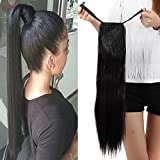 22' Queue de Cheval Postiche Extension de Cheveux (Attachée par bandeau) Lisse - Wrap Around Tie Binding Ponytail Extensions - Noir Naturel (55cm)
