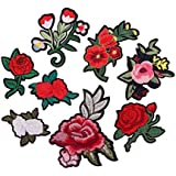 Segolike 8 Pieces/Set Embroidered Flower Iron on Patches Clothing Bag Hat Jeans Dress Crafts