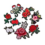 #9: Segolike 8 Pieces/Set Embroidered Flower Iron on Patches Clothing Bag Hat Jeans Dress Crafts