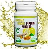 CURCUMA+PIPERINA+LIMONE+ZENZERO+VITAMINA C | 130 Compresse Naturali di Puro Estratto di Curcuma | Brucia Grassi | Antinfiammatorio | Antidolorifico | Antiossidante