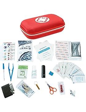 [Patrocinado]BEETEST Botiquín de Primeros Auxilios Portátil completo mini incluyendo algodón hisopo termómetro alcohol tabletas...