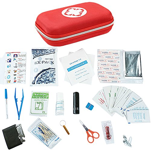 Notebook Voll Mini Verbandskasten einschließlich Baumwolle HISOPO Thermometer Alkohol Tablets Mini Taschenlampe Schere fokusiert Notfall-Decke für Zuhause Wandern Camping Rucksack (Tablet Wasserdichte Erste-hilfe-kit)