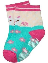 BOMIO | ABS Socken in farbenfrohem Design Häschen | Antirutsch Baby-Söckchen aus hautfreundlichem Material | Stoppersocken | Hervorragende Passform