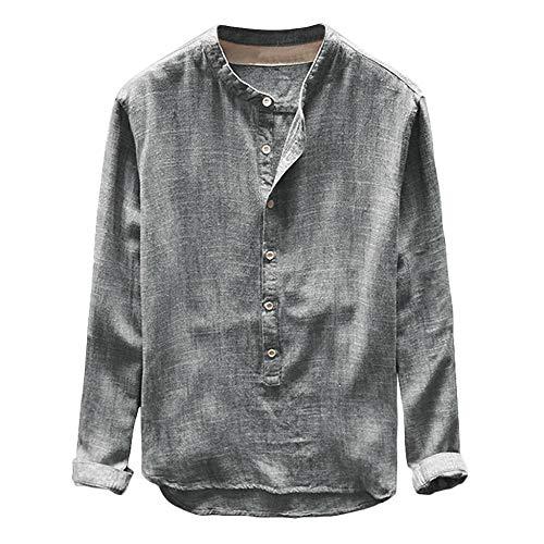 FIRSS Herren Einfarbig Hemd Freizeit Business Slim Fit Shirt V Ausschnitt Knopf Sweatshirt Leinen T-Shirt Tops Bluse Lange Ärmel Oberteile