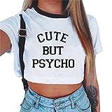Baijiaye Damen Kurzarm Crop Top Gedrucktes Sommer Loses T-Shirt Lässige Blusen Loses Kurzes Top Bauchfreie Oberteile Bauchfrei Tops Muster#1 L
