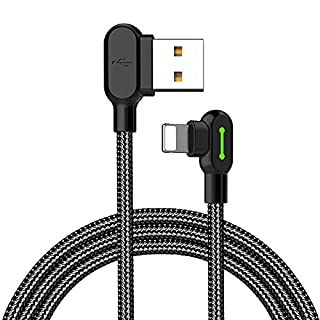 Mcdodo LED L Shaped 90Degree Right Angle Lightning Cable to USB Braided Nylon Quick Charger Data Sync Charging Cable Cord Adapter For Apple iPhone 4x 83/6Plus, iPad, iPod 1.2m