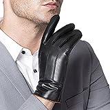 Insun Hommes Gants Cuir Doublure en peluche gants d'affaires décontractée Automne et l'hiver Touch gants d'écran Noir L
