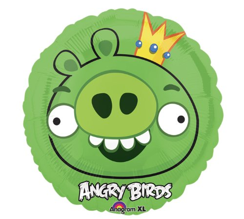 Party Street Angry Birds Leonard Aluminium Luftballon rund 45 cm hellgrün