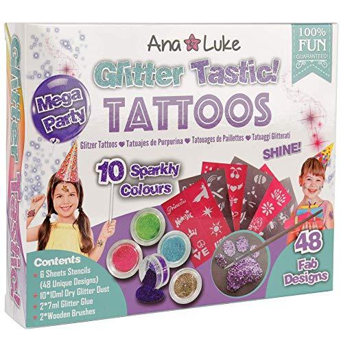 Glitzer Tattoo Kit XL Pack 40 Selbsthaftende Schablonen Designs für Mädchen Kinder, 10 Große Glitzers, Klebstoff, 2 Pinsel für Gesicht, Körper. Perfektes Party Set/ Geschenk für Geburtstage, ()