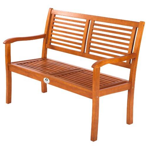 Ultranatura Gartenbank 2-Sitzer, Edles und Hochwertiges Eukalyptusholz, 120 cm x 56 cm x 91 cm