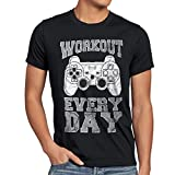 style3 Gamer Workout Herren T-Shirt play sport station controller ps game, Größe:M;Farbe:Schwarz