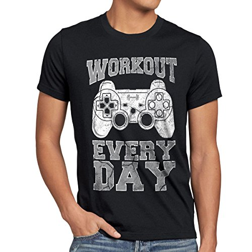 style3 Gamer Workout Herren T-Shirt play sport station controller ps game, Größe:XL;Farbe:Schwarz -
