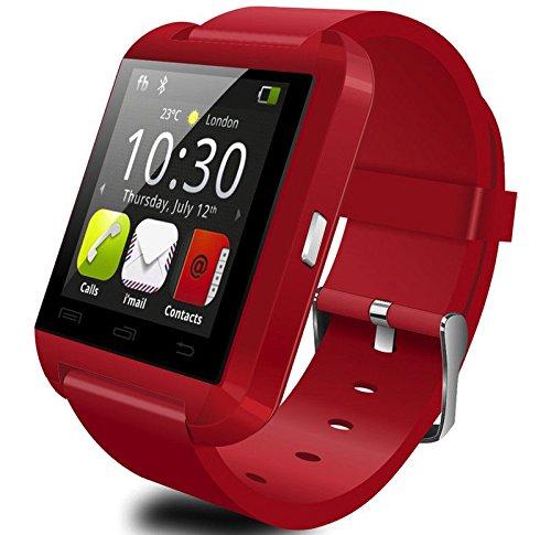 SYMTOP U8 Smartwatch Uhr Bluetooth Antwort Wahl Telefon Passometer Einbruch Alarm Rot (Ge-elektronik-uhr)