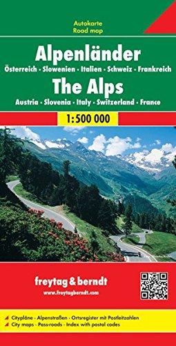 Alpenländer: Österreich, Slowenien, Italien, Schweiz, Frankreich / Alps: Austria, Slovenia, Italy, Switzerland, France- Road map 1:500 000 (Auto karte) por VV.AA.