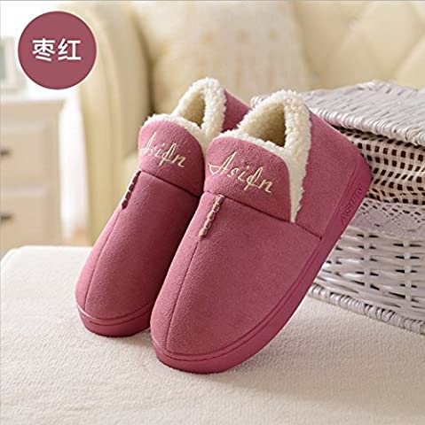 Cotton slippers girl of autumn and winter female couple soft thick-hos home household indoor anti-slip warm package root slippers male ,40-41, chestnut