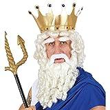 Widmann Z0787 Perücke Zeus mit Locken, Bart, Schnurrbart und Augenbrauen, Weiß, Einheitsgröße