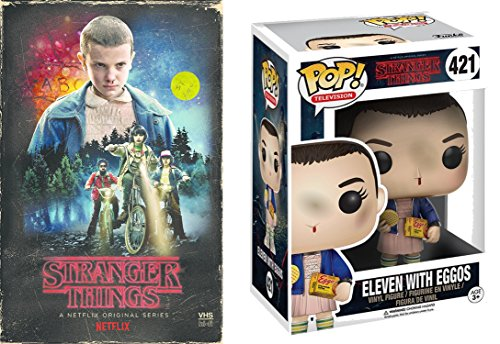 Stranger Things Funko Pop Eleven (with Eggos) #421 VHS Set Season 1 DVD Blu-Ray 4 Disc Box Special Edition 2-Pack Combo Bundle -