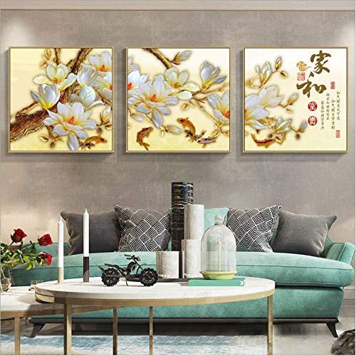 Leinwandbilder 3 teilig Moderne minimalistische Pflanze Blumendekoration Malerei Zuhause Wohnzimmer Wand Art Deco Quadrat Wandbild custom_bcN9QdYP-50x50cmx3,Mit Rahmen