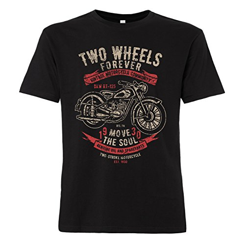 ShirtWorld - Two Wheels Forever - Herren T-Shirt für Biker Schwarz 4XL -