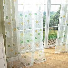 2x Visillos Voiles de Gasa Estampada para Ventanas de Salón Habitación Dormitorio, 140x240cm, Cuadrículas Verdes, Fresquita