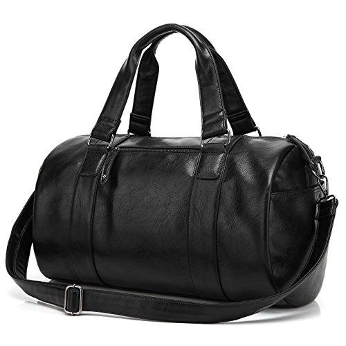 BAOSHA HB-02 Stilvoll Unisex PU Leder Reisetasche Handtaschetotes Weekender Duffle Bag Sporttasche Sports Handtasche Herren Damen Schwarz