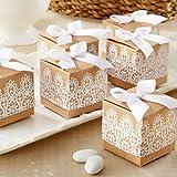 JZK 50 Carta kraft marrone pizzo scatola bomboniera scatolina portaconfetti segnaposto per matrimonio rustico Natale compleanno battesimo laurea nascita