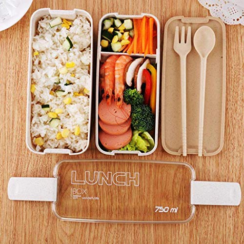 Nifogo Robuste tragbare multifunktionale Brotdose mit DREI Ebenen Küchenhelfer & Kochzubehör (900ml) (Beige)