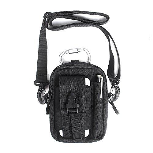 Unigear Taktische Hüfttaschen Molle Tasche Gürteltasche MOLLE Beutel Militär Ideal für Outdoorsport Multifunktionen Praktische Ausrüstung mit Extrafreiem Aluminiumkarabiner (Pouch Leder Kleine Pen)